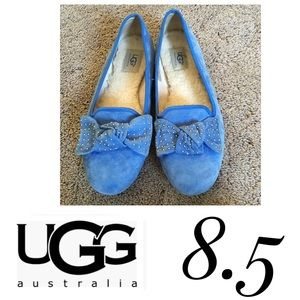 Sz 8.5 Ugg Blue Alloway Studded Bow Flat